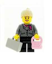 LEGO Business Girl Female Office Worker Minifig & Briefcase and Pink Handbag NEW