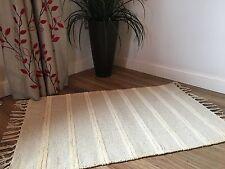 ❤️Grey & Double White Stripe Cotton & Jute Rug Fringing 70cm x 130cm Flat Weave