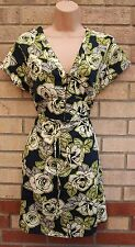 NEW LOOK NAVY BLUE GREEN ROSES FLORAL BELTED SILKY FEEL SKATER TEA DRESS 12 M