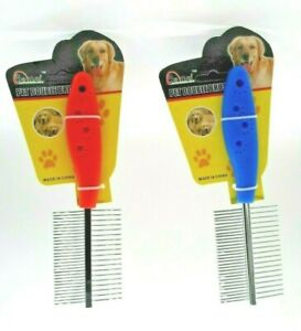 1 X Pet Hair Flea Comb Stainless Pin Dog Cat Shedding Grooming Brush Comb 2 Side