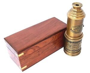 """20"""" Vintage Brass Telescope Victorian 1915 Antique Functional   with Wooden Box"""