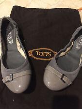 TOD'S  Ballerina Gray Leather Ballet Flat 2 TONE Shoe 39 1/2 !!! OLGACRES