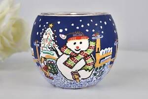 Leuchtglas 21816 Snowman Schneemann 11cm Teelichthalter Windlicht Kerzenfarm
