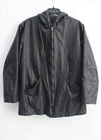 Canali Men's Black coated Full zip hooded Jacket Fleece lined Size 50
