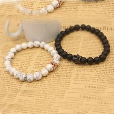 Couple His & Her Matching Bracelets King Queen Crown Black White 8mm Beads