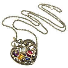 CS 2x Hollow Heart With Colorful Pearl Pendent Bronze Long Necklace Gold S2h4