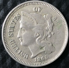 1865 Philadelphia Three 3 Cent Nickel Civil War Era United States Coin