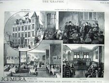 "Antique Engraved Print 1886 - ""The Hospital for Diseases of the Chest, City Rd"""