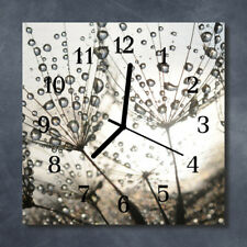Glass Wall Clock Kitchen Clocks 30x30 cm silent Dew Drops Grey