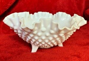 """Vintage Fenton White Hobnail Milk Glass Ruffled Crimped Footed Candy Bowl 8""""D"""