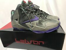 Nike Lebron XI Basketball Shoes, Gray, Electric Purple, Men's Size 11