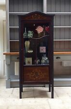 Antique Vintage Glazed Display Cabinet Bookcase Black Painted Glass Marquetry