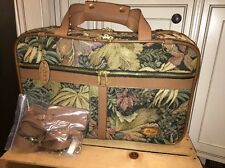 "VTG 20"" Boyt Tapestry Canvas Leather Bag Weekender Duffle Travel Bag Luggage USA"