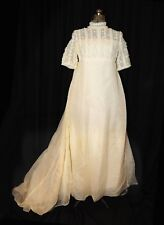 Vtg 50's Miss Betsy Bridal Wedding Gown Size Sm Floral Chiffon Bodice Party Prom