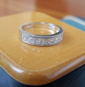 Signed A 925 Sterling Silver Cubic Zirconia Ring Size 9.25