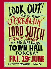 """Screaming Lord Sutch Torquay 16"""" x 12"""" Photo Repro Concert Poster"""