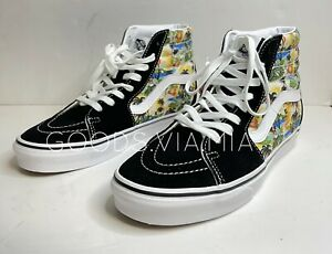Vans Womens 9 Mens 7.5 Black Canvas Suede Aloha Hula Girl Palm Tree Sk8 Hi Shoes