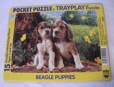 "Vintage Beagle Puppies ""Pocket Puzzle Trayplay Puzzle"" Fink & Company Made Spain"