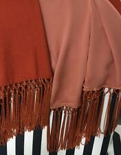 VINTAGE 100%  LINED CASHMERE PASHMINA /STOLE  WITH TASSELS AND BEAD TRIM