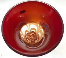 """RARE Evolution By Waterford Contemporary Poland Red & Amber Swirl 8"""" Round Bowl"""