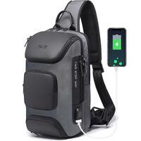 Men's Sling Backpack Oxford cloth Waterproo Crossbody Bags USB Charging Port