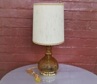 Tiara Indiana Glass Amber Sandwich Classic Electric Table Lamp