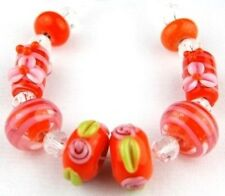 HANDMADE LAMPWORK GLASS BEADS Orange Flower Loose Jewelry Making Craft Spacer