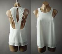 White Minimalist Cage Style Strappy Cutout Back A-Line Top 241 mv Blouse S M L