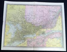 Ontario & Quebec Canada Map 1912 Vintage Scientific American Atlas Page