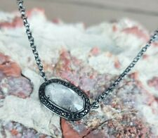 """Kendra Scott Black chain necklace with white stone/crystal pendant 17-19"""""""