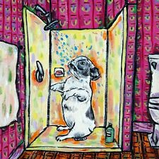 French bulldog taking a shower bath bather dog art tile coaster gift artwork