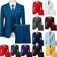 Mens Suits Sets 3 Pcs Slim Fit Coats Tuxedos Groom Groomsman Formal Work Casual