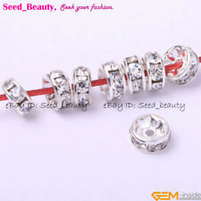 100pcs Roundel Silver Plated Crystal Spacer Beads 6mm