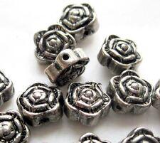 30Pcs Alloy Metal Rose Flower Beads Finding