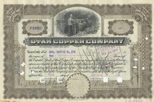Utah Copper Company Stock Certificate