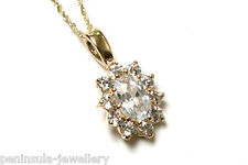"""9ct Gold CZ cluster Pendant and 18"""" Chain Gift Boxed"""