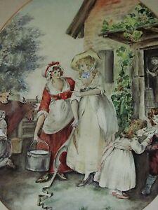 19th century watercolour portrait country scene  milk maids farm scene