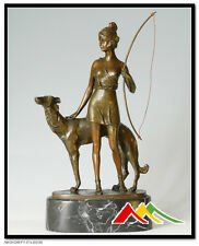 Signed B.Lach, Bronze statue Diana The Huntress girl with Borzoi Dog statue