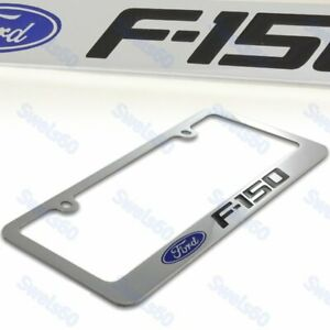FORD F-150 F150 Chrome Plated Brass License Plate Frame w/ Black Caps AUTHENTIC