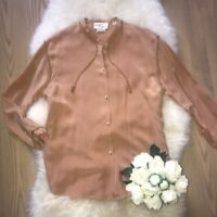 VINTAGE VERSACE Silk Blouse With Metallic cording SZ 12 Gorgeous!
