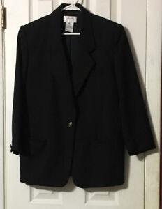 Talbots Petites Wool Blazer Size 8 Black One Button