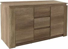 Canyon Oak Sideboard Table Cabinet Unit W/ 2 Handy Cupboard Storage 3 Drawers