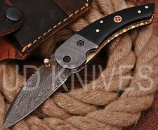 UD KNIVES CUSTOM HANDMADE DAMASCUS STEEL LINER LOCK POCKET FOLDING KNIFE 8760