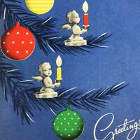 Vintage Mid Century Christmas Greeting Card Angels Tree Candles Ornaments Blue
