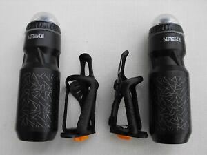 2  x  Bike/Cycle Adjustable Drinks/Water Bottle CAGES/HOLDERS & 750ml BOTTLES
