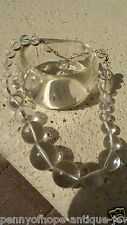 vtg 1960-70s Clear LuciteNecklace Bracelet Set large bangle a round beads
