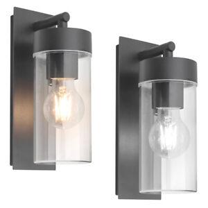 LED Rectangular Outdoor Wall Light Clear Metal Lantern Garden Wall Lamp ZLC344