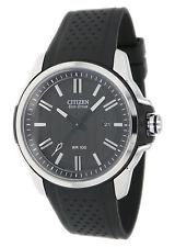 Citizen Eco-Drive Men's Silver-Tone Case Black Poly Band 45mm Watch AW1150-07E