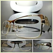 Men's CLASSY SOPHISTICATED Clear Lens EYE GLASSES Rectangular Gold Fashion Frame