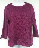 Women's Laura Scott Size Large Purple Floral Lace Blouse Top